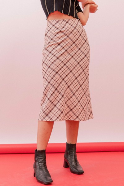 Brown Checked Midi Skirt