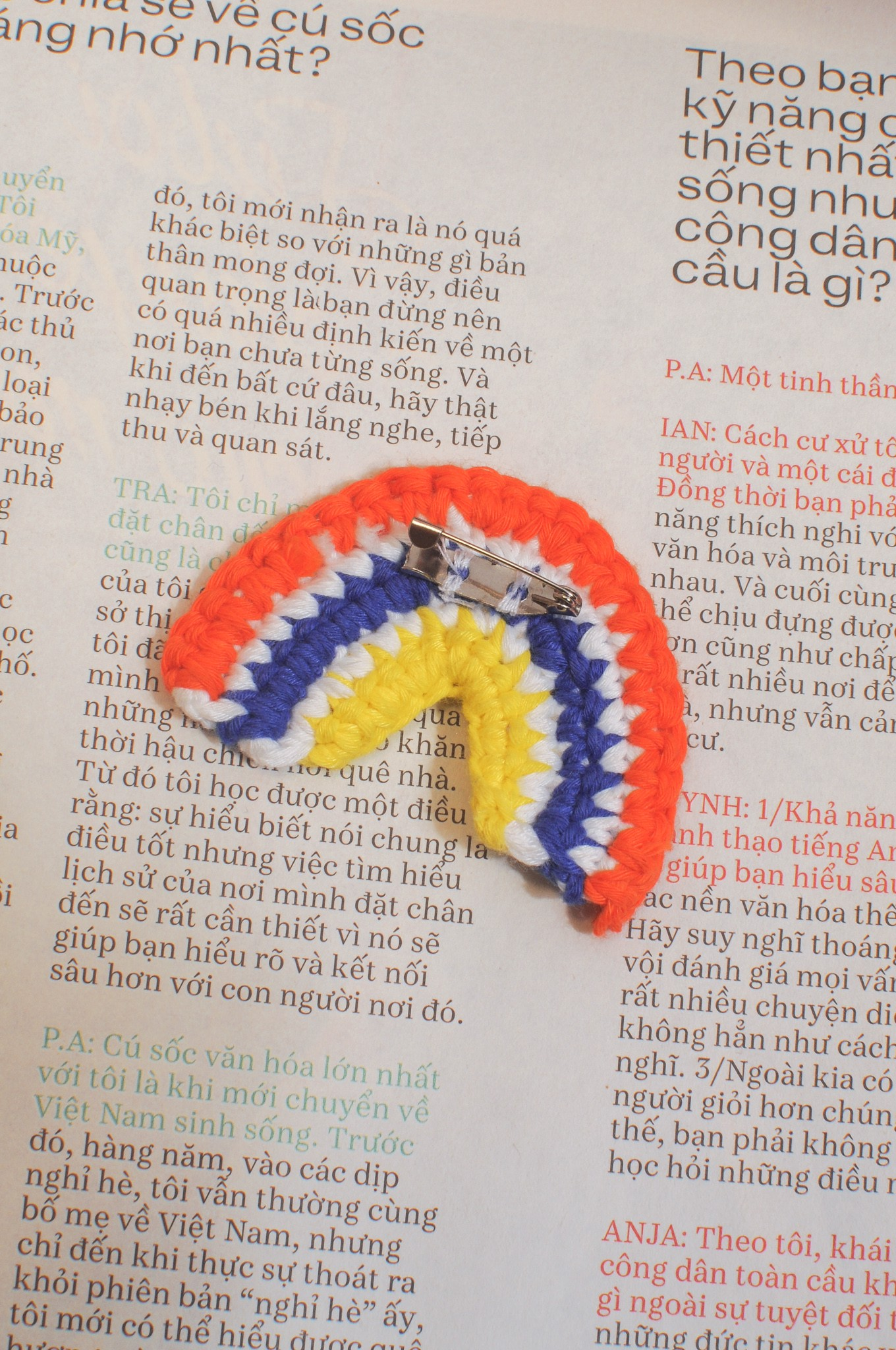 Crochet Rainbow Pin