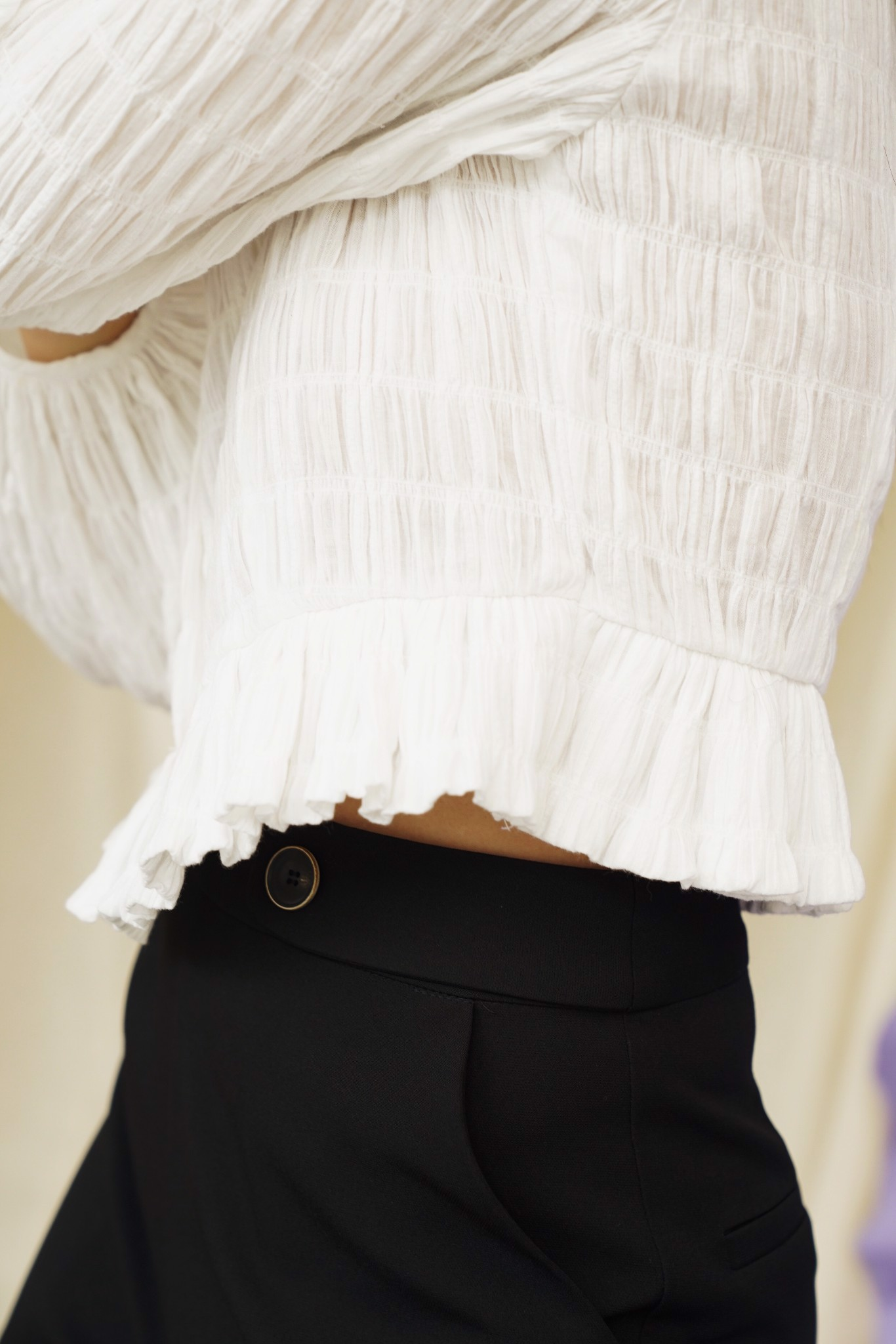 White Textured Puff Sleeve Top