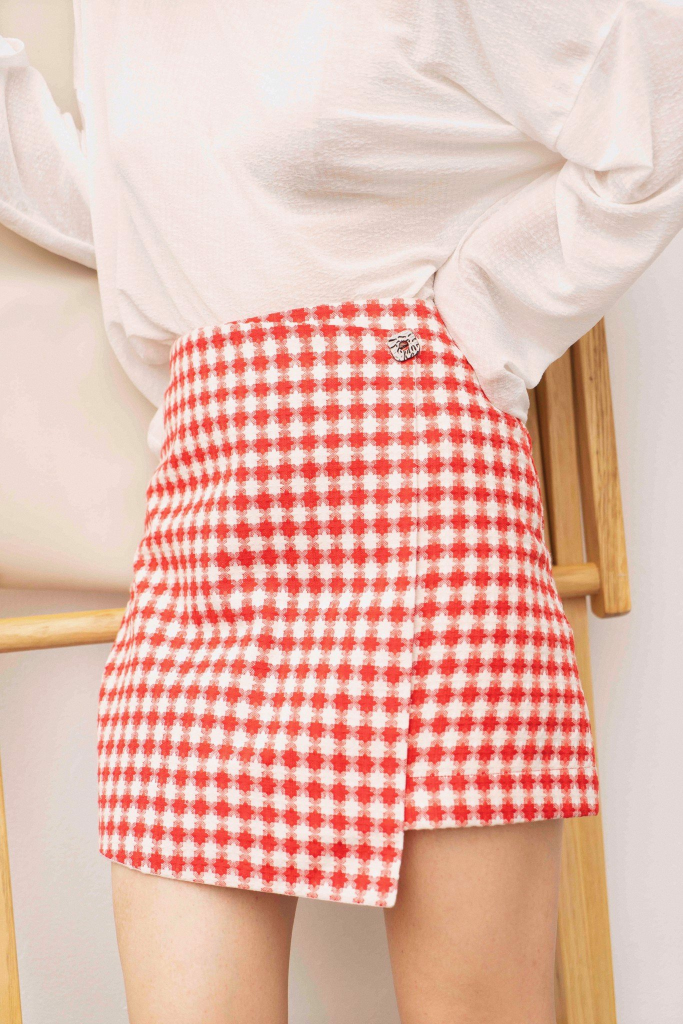 Red & White Checked Skirt