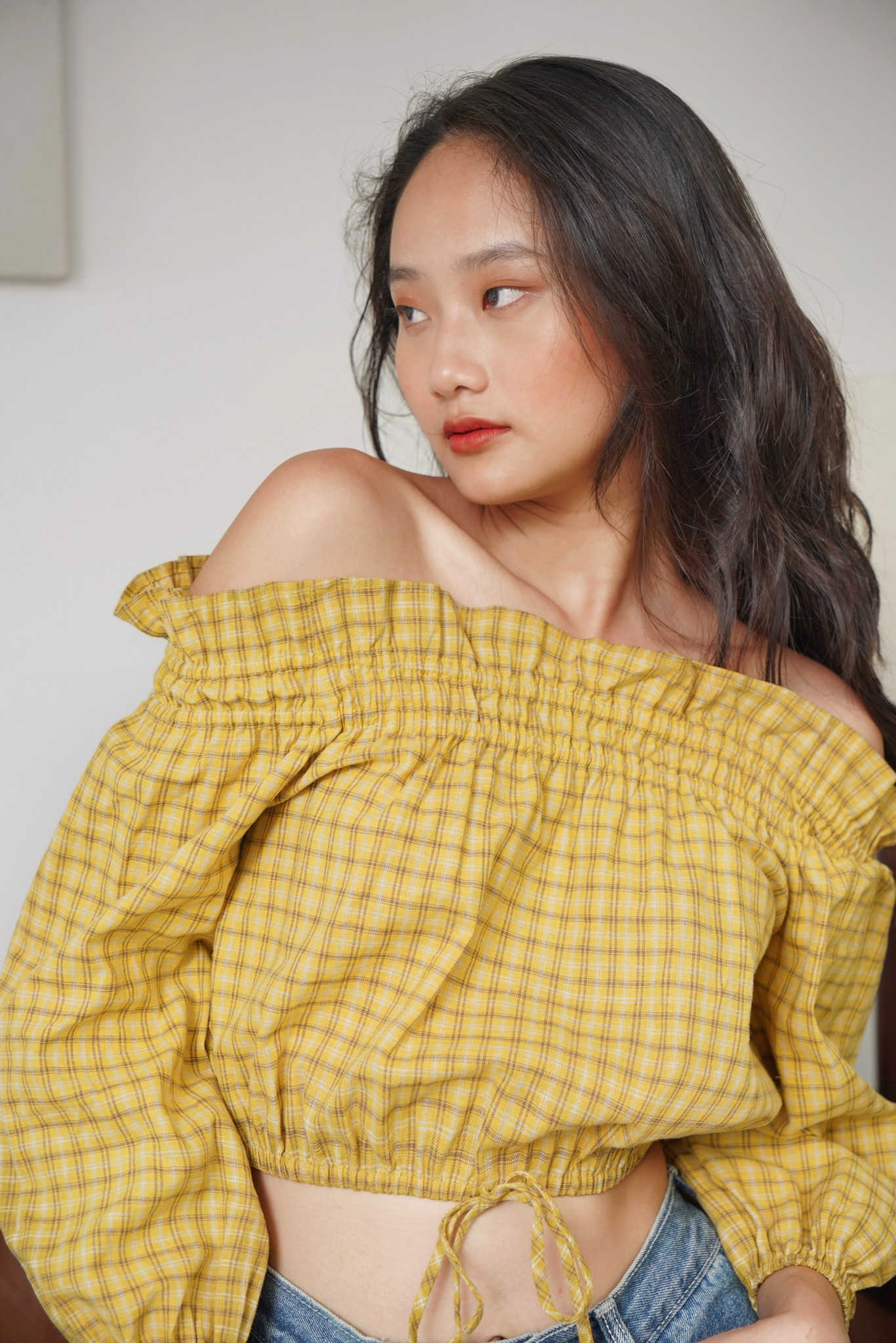 Checked Off Shoulder Top-Yellow