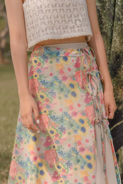 Floral Tie Front Midi Skirt