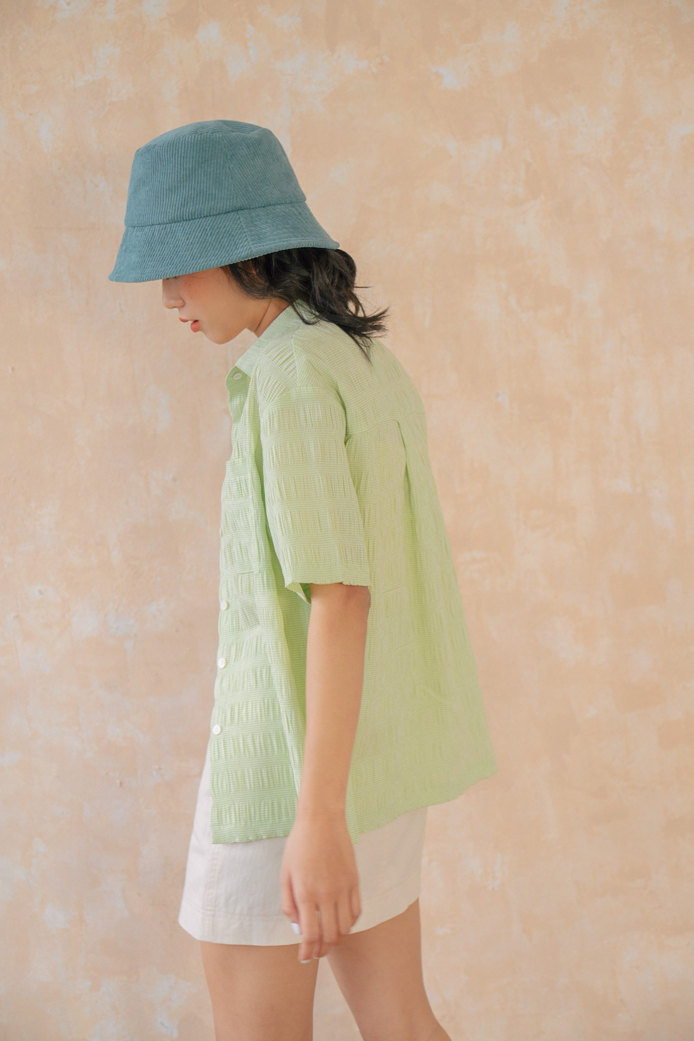 Seersucker Short Sleeve Shirt- Light Green