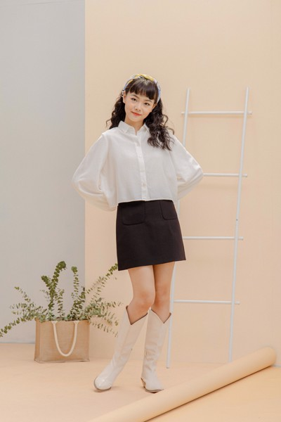 White Pleated Linen Shirt