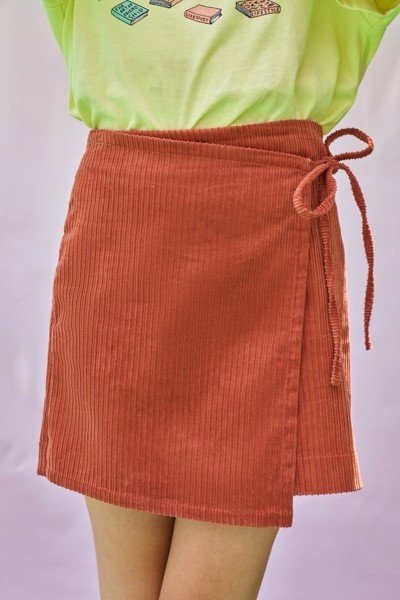 Orange Corduroy Mini Skirt