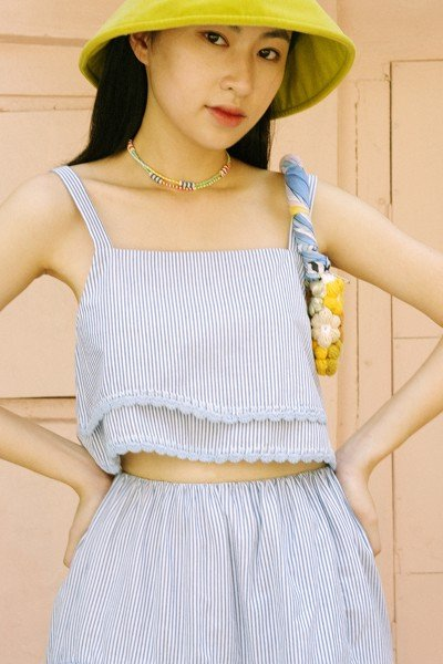 Blue Striped Croptop With Handmade Crochet Details