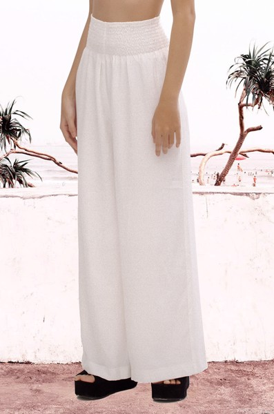 White Smoked Waist Trouser