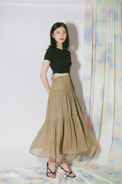 Olive Rufle Midi Skirt