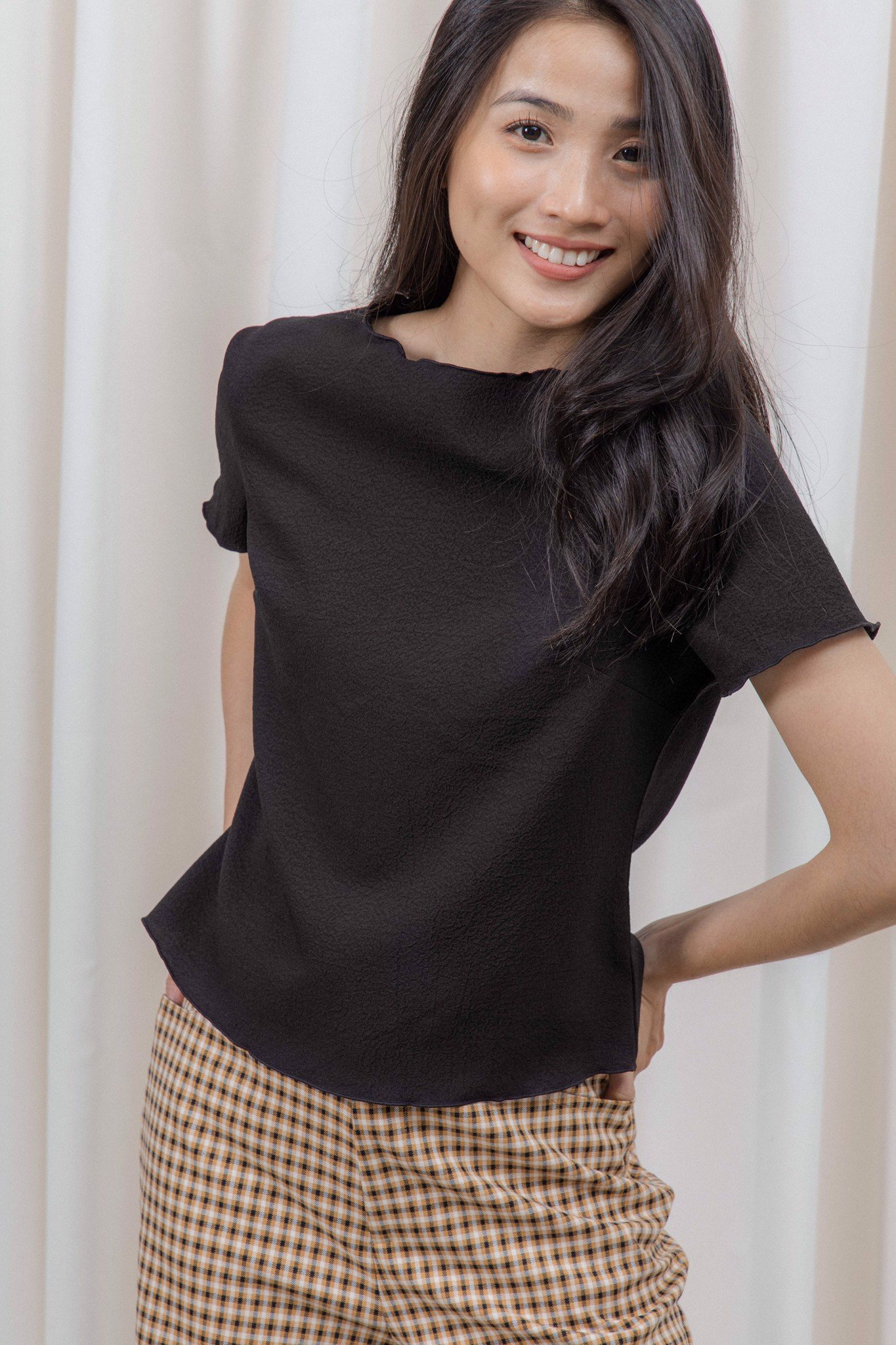 Seersucker Top - Black