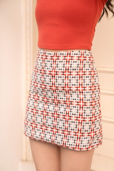 Floral Tweed Mini Skirt