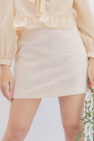 White Brocade Mini Skirt