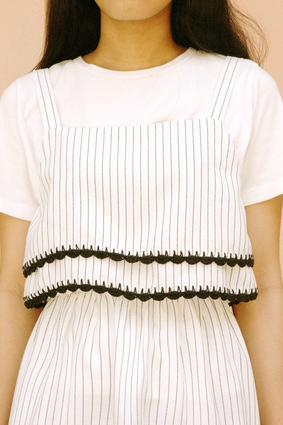 Black Striped Croptop With Handmade Crochet Details