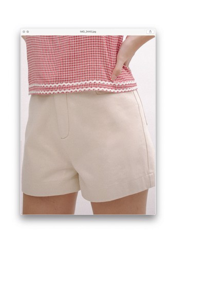 Ivory Shorts With Brown Stitching