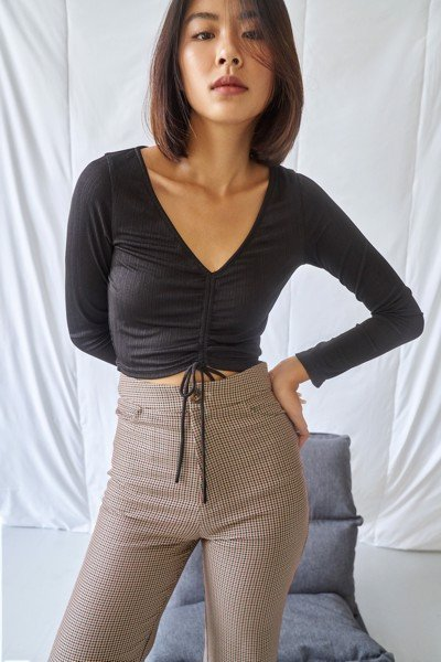 Black Ruched Crop Top