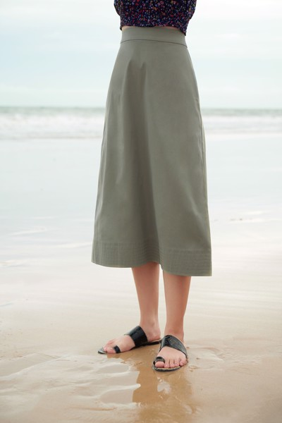 Green Khaki Midi Skirt