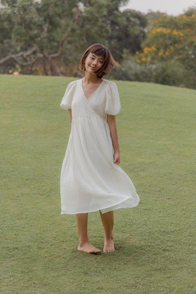White Wrapped Midi Dress