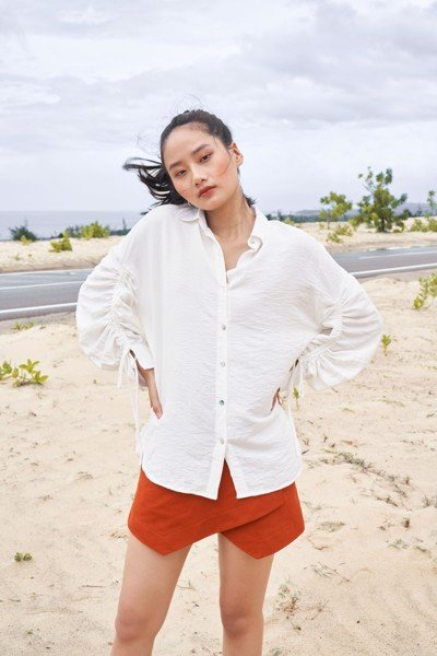 White Ruched Blouse