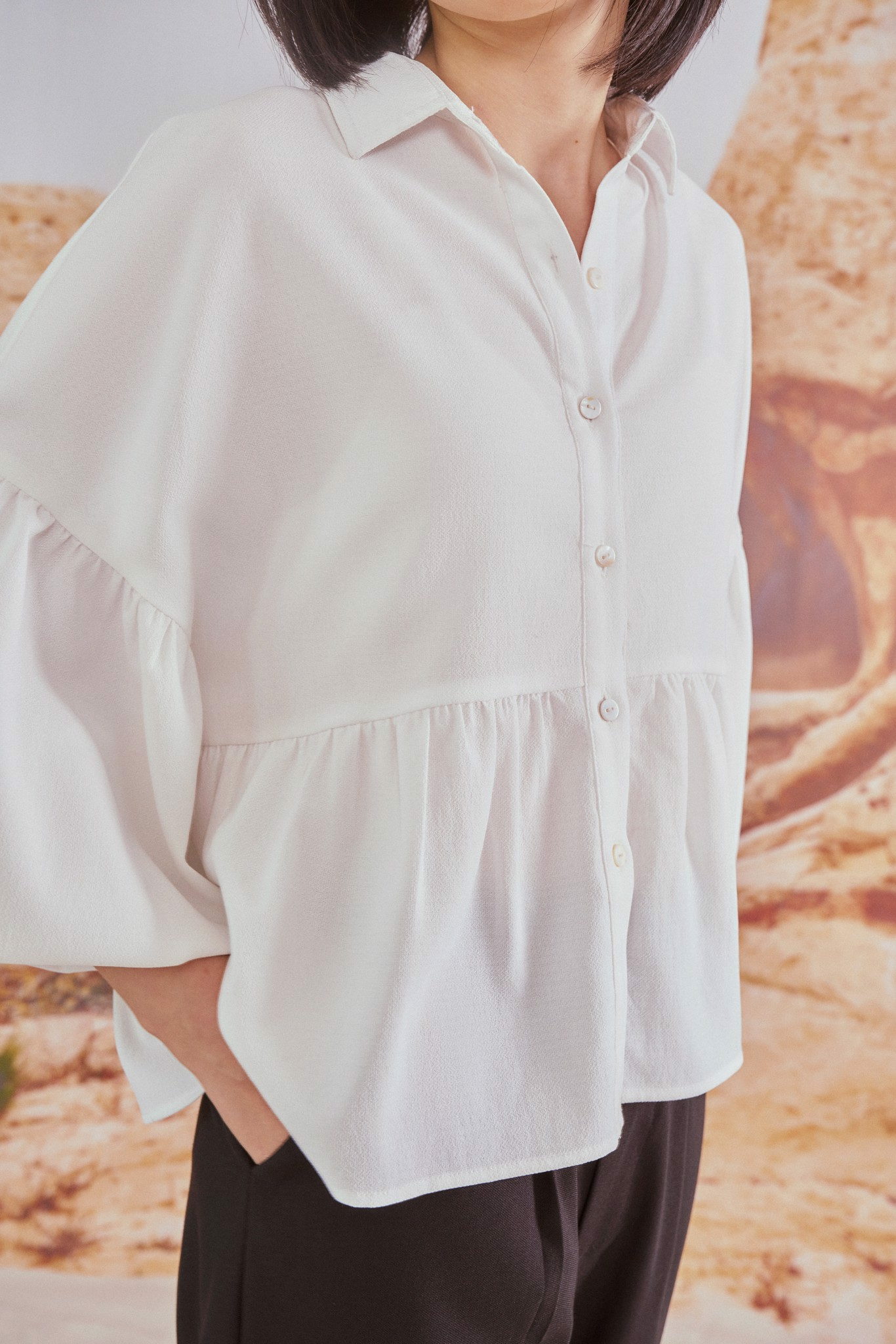 White Frilled Blouse