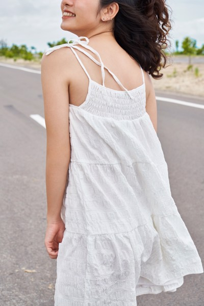 White Textured Mini Dress