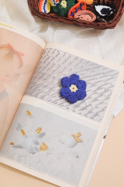 Crochet Flower Pin - Blue