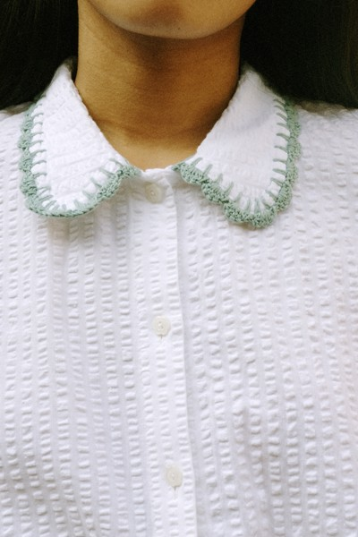 Seersucker Shirt With Handmade Crochet Details