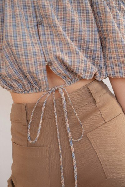 Checked Puff Sleeve Crop Top