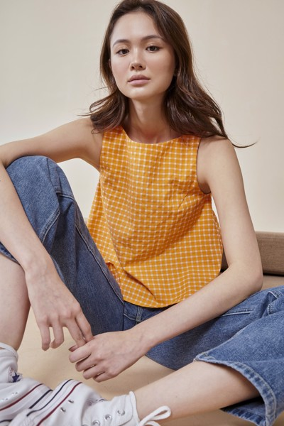 Gingham Sleeveless Top - Orange