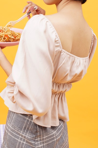 Beige Puff Sleeve Top
