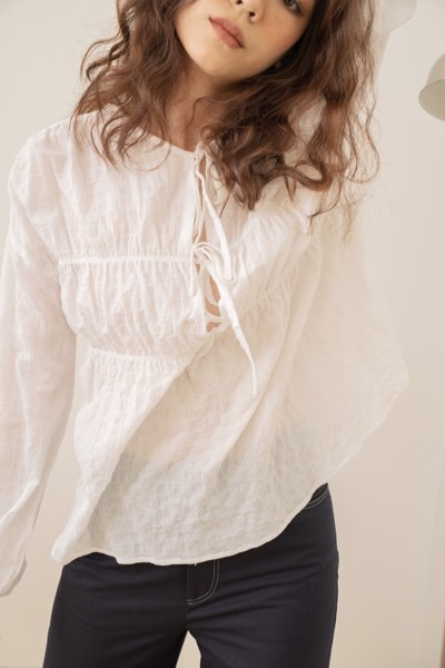 White Blouse with Bow Detail