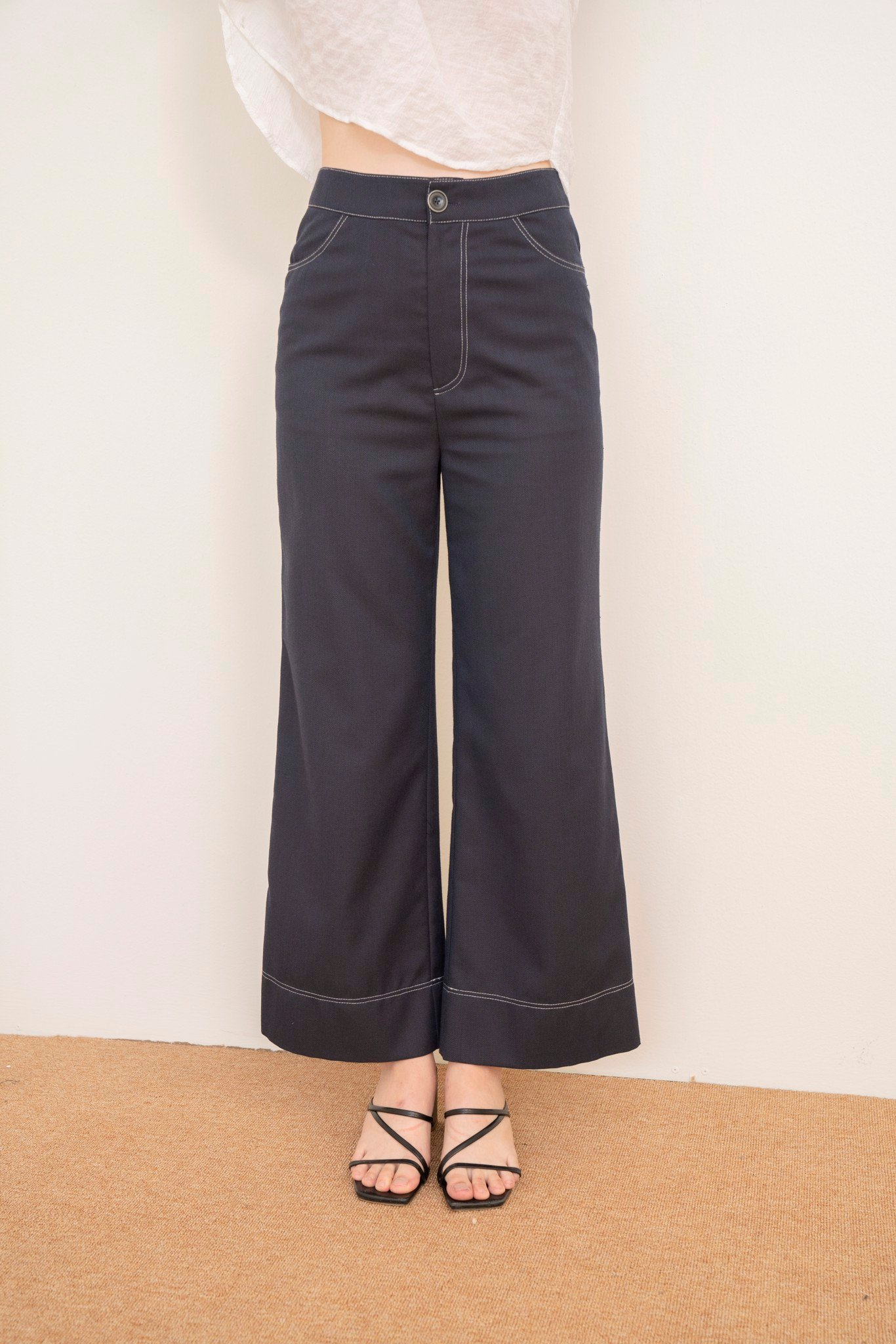 Navy Pants with White Stitching