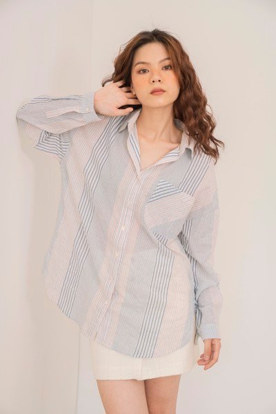 Striped Oversized Button Down Shirt