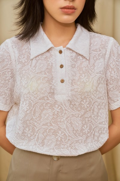Floral Lace Short Sleeve Shirt