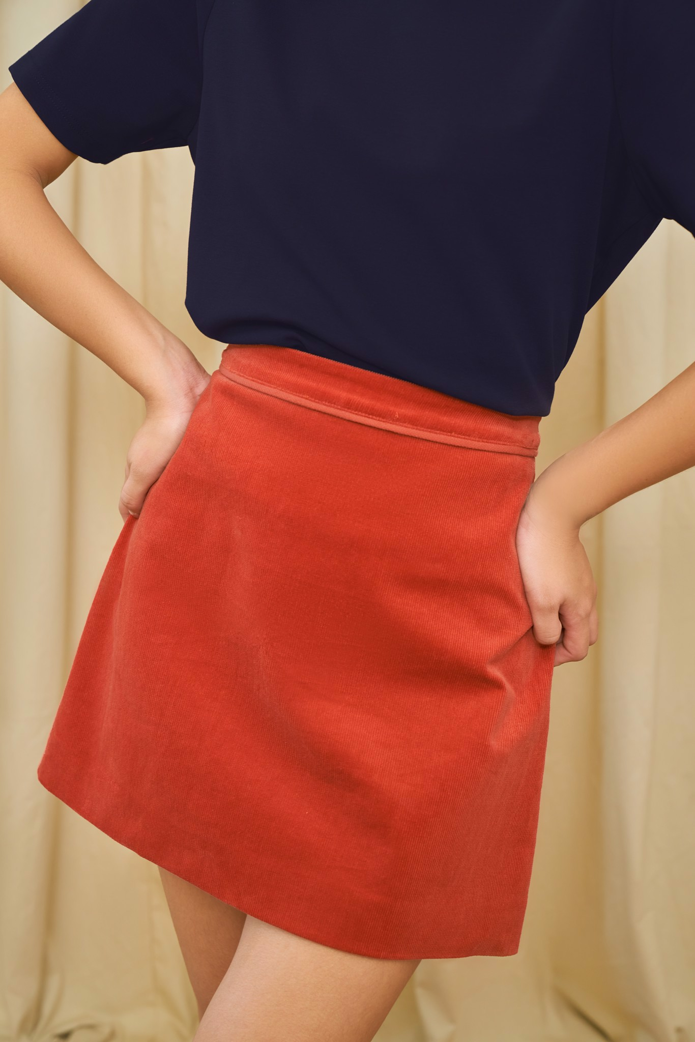 Red Corduroy Mini Skirt