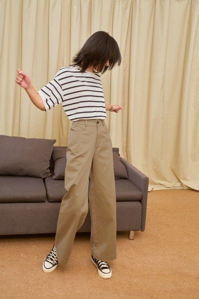 Khaki Straight Leg Trousers