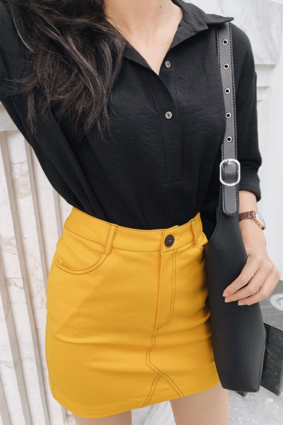 Yellow Skirt With Brown Stitching