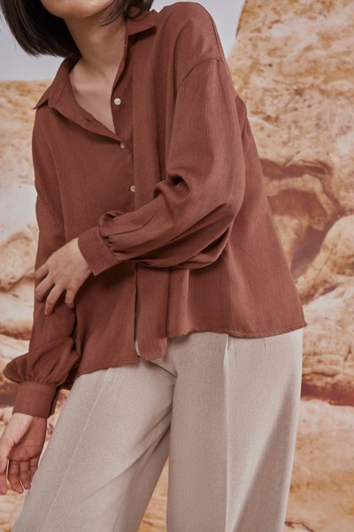 Brown Puff Sleeve Shirt