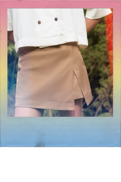 Brown Skort With Slit