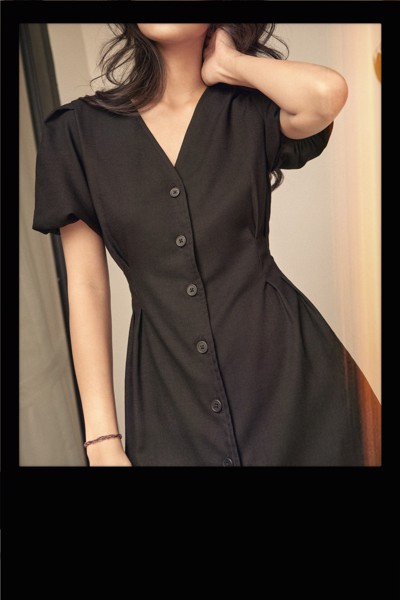 Black Mini Dress with Puff Sleeves