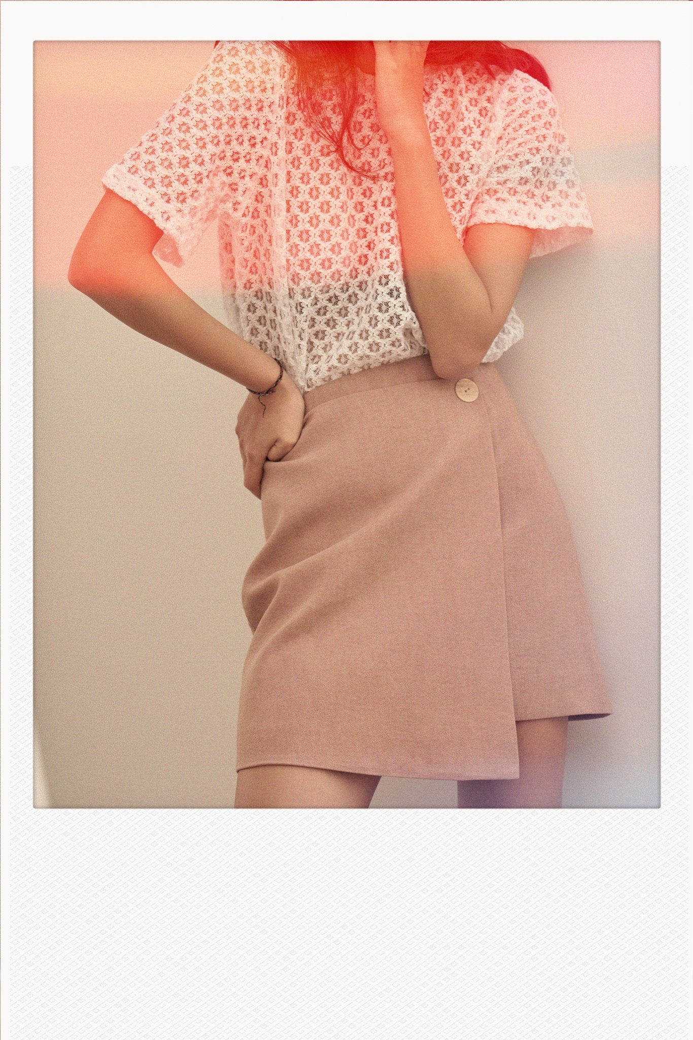 Pink Overlap Mini Skirt