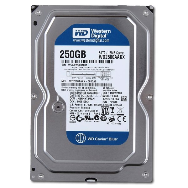 HDD WD BLUE SATA 250GB 7200 RPM NEW BH 2 NĂM