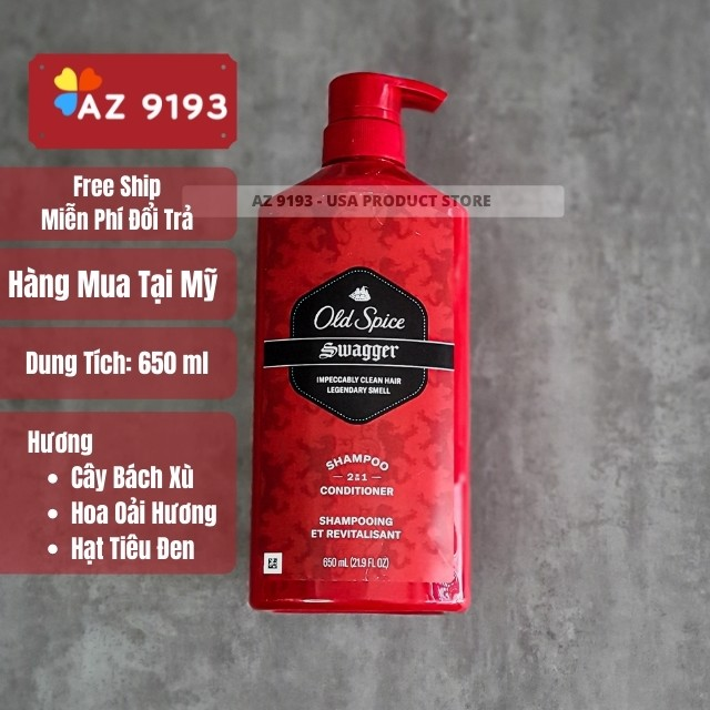 Dầu Gội Nam Old Spice 2 trong 1 SWAGGER 650ml (21.9 oz)