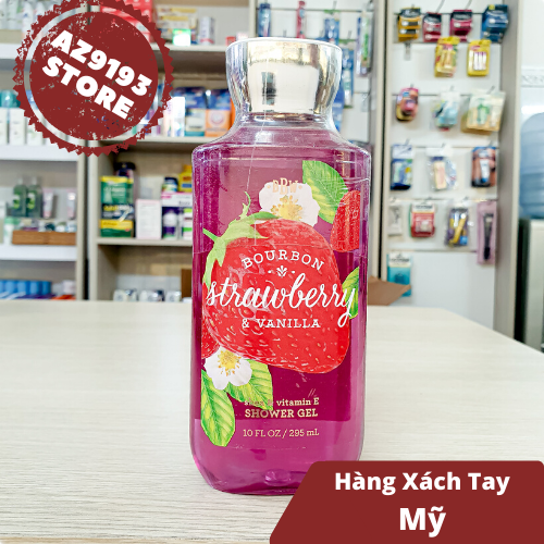 Gel Tắm Bath And Body Works Bourbon Strawberry & Vanilla 295ml
