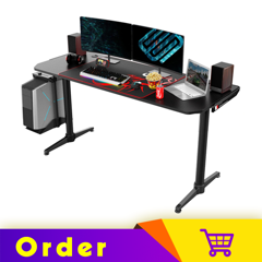 Eureka Ergonomic® 60'' Large Home Office Gaming Computer Desk, I60 Black, I Shaped Round Legs