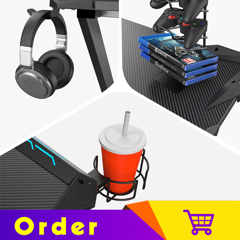 Eureka Gaming® Gamer's Gear Rack Bundle New - Cup Holder, Headset Hook & Controller Rack - Black
