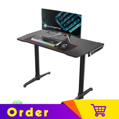 Eureka Ergonomic® I1 44'' Home Office Gaming Computer Table, Curve Design, Free Mousepad, Black