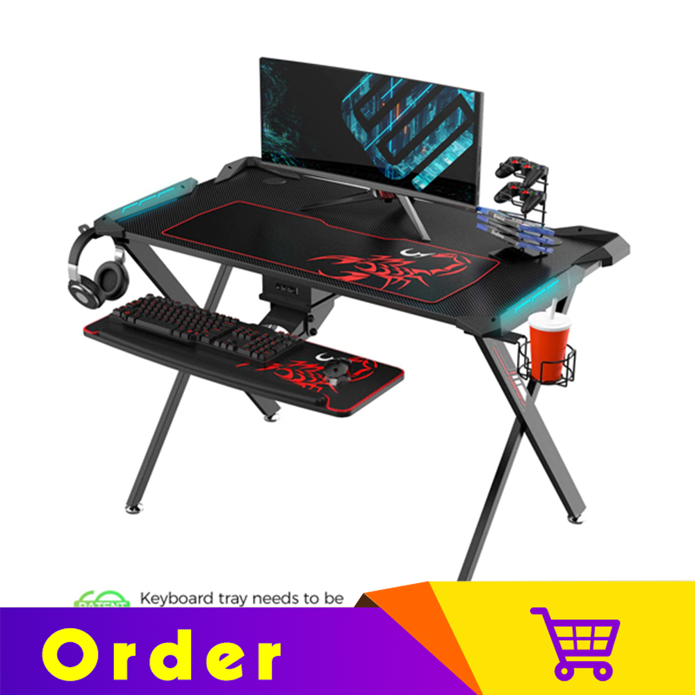 Eureka Ergonomic® 44'' X1-S Gaming Computer Desk with LED Lights, Cup Holder & Headphone Hook, Home Office Gaming Table, Black