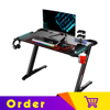 Eureka Ergonomic® Colonel Series Z1-S Gaming Computer Desk with RGB LED Lighting, Controller Stand, Cup Holder & Headphone Hook, Home Office Gaming Table, Black