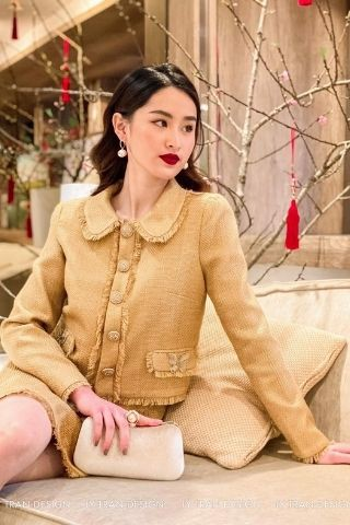 Vest dạ tweed Light Brown