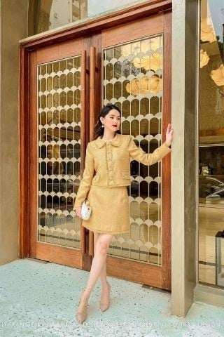 Jupe dạ tweed Light Brown