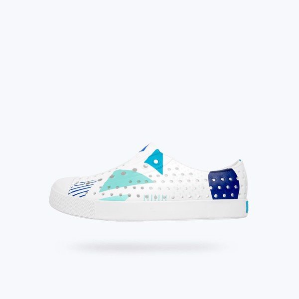 Giày native ad jefferson print (11100101) shell white/ shell white/ blue geometriske